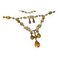 Lovely CZECH Czechoslovakia Amber Glass Enameled Necklace