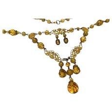Lovely CZECH Czechlosovakia Amber Glass Enameled Necklace