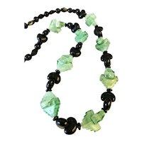 Art Deco Czech Glass Green Pyramid Beads!