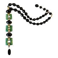 Art Deco Czech Glass Bracelet Becomes a Necklace!