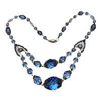 Dainty CZECH Enameled Blue Glass Necklace!