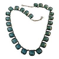 Gorgeous CZECH Teal Square Cut Glass Necklace!