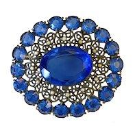 Large Frilly 1920s Blue Rhinestones Pin!