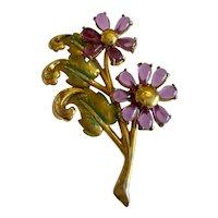 1940s Luminous Purple Flower Brooch Pin!