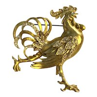 Crowing Rooster! Large 1940s Figural Pin Brooch