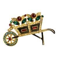 Colorful 1940s Jeweled Wheelbarrow Pin Brooch!