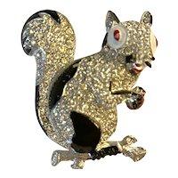 1940s Squirrel Figural Rhinestone Encrusted Pin Brooch!
