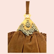 Rare Early 1900s Pleated Leather and Celluloid Purse!