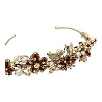 Elegant Red and Clear Rhinestones Imitation Pearls Floral Tiara!