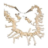 Exceptional 1970s White Branch Coral Necklace and Earrings!