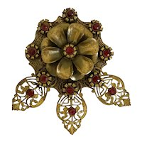 Bold Floral Dress Clip with Red Rhinestones!