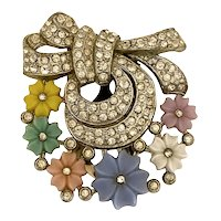 Lovely Pastel Flowers and Rhinestones Dress Clip!