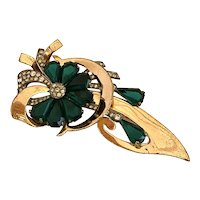 Spectacular Retro 1940s Sterling with a Rose Gold Finish Floral Brooch Pin!