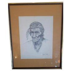 """Vintage Indian Print Norman Gilson 16.5"""" x 21"""" Framed"""