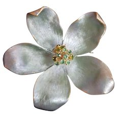 Vintage Green Brooch / Pin with Rhinestone Center