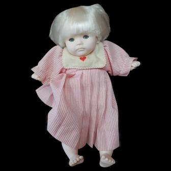 Vintage Pauline Bjonness Jacobsen Doll 11 inches  Marked PBJ No. 91984 Red Stripe Dress