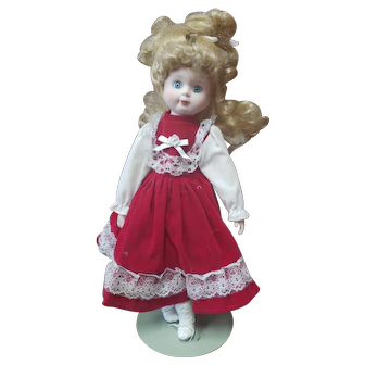 """15"""" Vintage Porcelain Doll Blue Eyes Blonde Hair in Red and White Dress"""