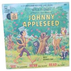 Vintage Walt Disney Johnny Appleseed 33 1/3 Record and Book Set