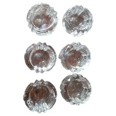 Set of 6 Crystal Cut-Glass OPEN Salt Cellars