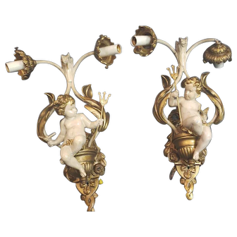 2 Vintage Cherub with Pitch Fork Wall Sconces Light Fixtures Wrought Iron
