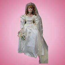 "The Danbury Mint Princess Sarah The Royal Wedding 19"" Porcelain Doll COA"