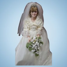 "The Danbury Mint Princess Diana The Royal Wedding 19"" Porcelain Doll COA"