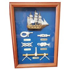 Nautical Rope Knots and Ship Shadow Box Picture. Ready to hang.