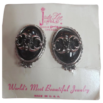 Vintage Set SIGNED JUDY LEE Black and Silver Clip Earrings