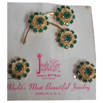 Vintage Set SIGNED JUDY LEE Green and Gold Earrings and Pin Brooch Set Parure