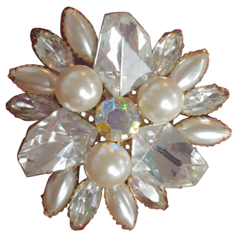 Vintage Set SIGNED JUDY LEE White Rhinestone and Pearl Pin Brooch