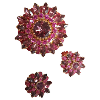 Vintage Judy Lee Magenta Rhinestone Brooch Pin and Matching Clip Earrings