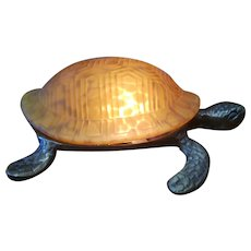 Vintage Bronze Turtle with Amber Glass Shell Table Lamp