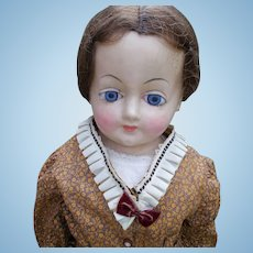 Large Wax over Composition Antique German Doll