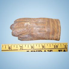 Vintage Pair of Large Doll Sized Leather Gloves