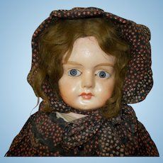 Lovely Patent Washable Paper-Mache German Doll