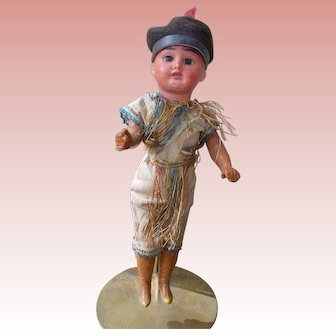 All Original Antique German American Indian Doll