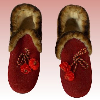 Vintage Maroon Large Doll or Small Child Slippers