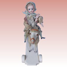 Antique Toy Lamb with Little Girl by Schoenau & Hoffmeister