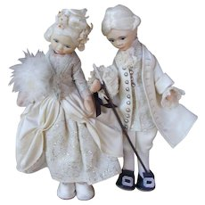 Victorian Style Pair of Old Cottage Dolls from England