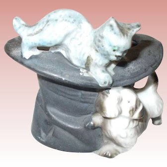 All Bisque Top Hat With Kitty on Top and Puppy Looking Up