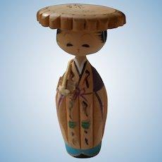 All Wooden Vintage Oriental Doll