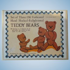 Boxed Set of 3 Old Fashioned TEDDY BEARS