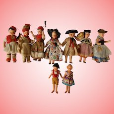 9 All Original Hertwig All Bisque Dolls German Made