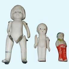 Small Vintage Group of All Bisque Japanese Dolls