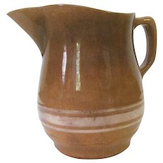 Early American Watt Yellow Ware Pitcher with White Slips