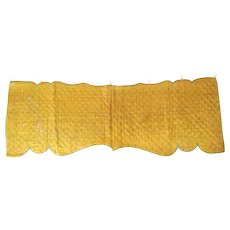 French 19th century Yellow Mustard Quilted Silk Lambrequin/Valance