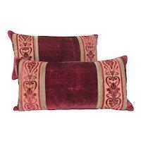 Pair of Pillows of Italian 18th Century Crimson Cut Silk Velvet