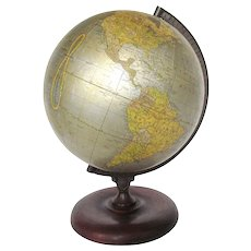 "Cram's Unrivaled Terrestrial 12"" Globe with Walnut and Iron Base"