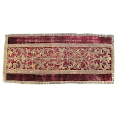 Italian or Spanish, 17th Century, Metal Thread Embroidered Runner