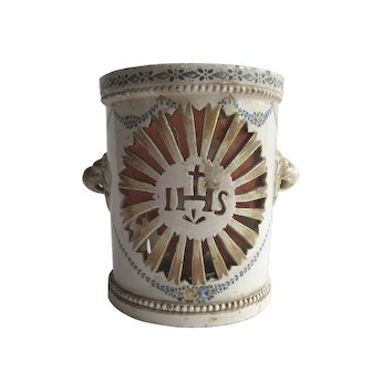 Italian 19th Century Ceramic Church Luminary/Candle Holder